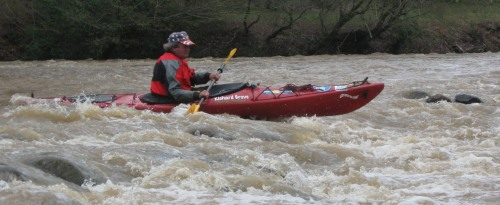 Richard Grove slides through one of the Upper Coosawattee's rapids.