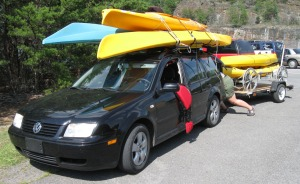 After securing 300 paddlers safety across Carters Lake, Georgia River Network Executive Director April Ingle gets taken by man-eating kayak-car amalgam.
