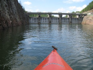 Carters Dam dwarfs paddlers. It is the tallest earthen dam east of the Mississippi.
