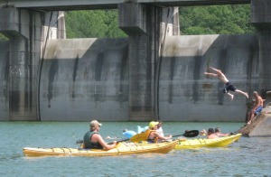 Dan and Carol McNavish finish their traverse of Carters Lake at the damsite.