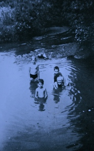 Joe Kidd, front left, with his grandfather in the pool beneath Hilly Mills Falls, circa 1946.