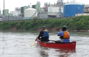 Vincent Payne & Keith Haskell paddle past Georgia Power Company's Plant McDonough in Atlanta during a recent Paddle Georgia scouting trip.