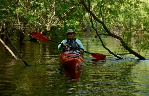Mike Worley navigates one of the Ogeechee's many