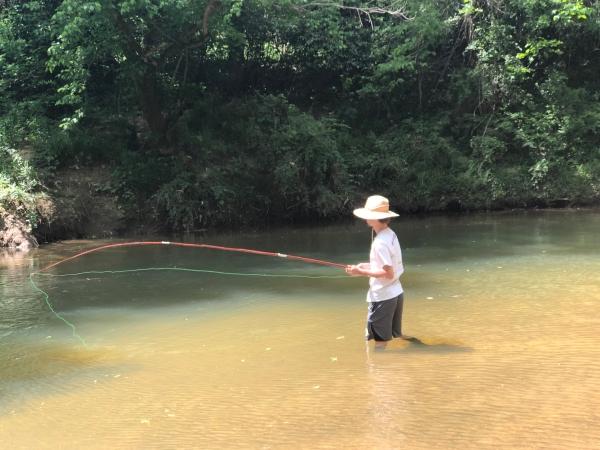 Ptree Creek angler son